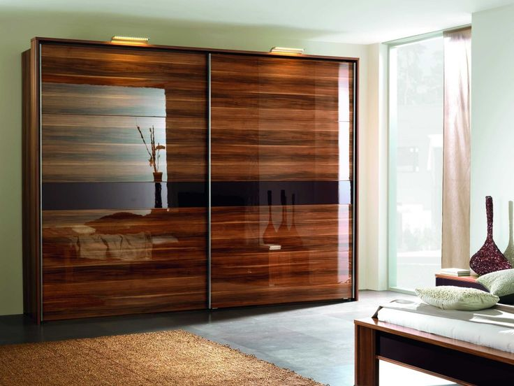 Elegant Veneer Wood Sliding Closet Doors With Glass Framed with Solid Veneer Wood Sliding Door Wardrobe and Brown Delicate Area Rug. Dark Flooring with Best Bedroom Furniture With White Fitted Sheet and White Painting Wall, along with King Bed Size, Glass Window With Light Cream Silk Curtain