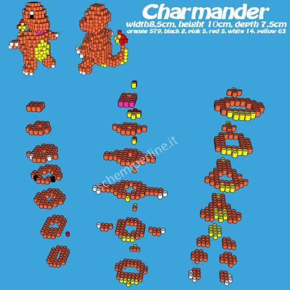 Charmander schema gratis  in 3D con le perline a fusione Pyssla