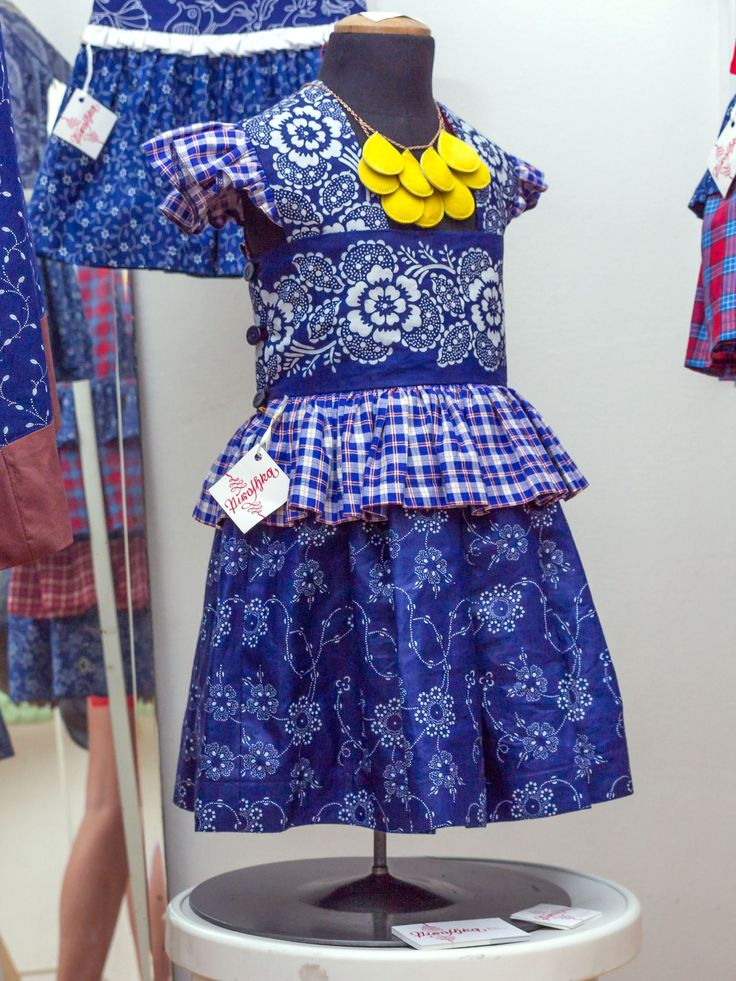 Girl dress made of traditional Hungarian blue-dyed fabric by Piroshka Design  http://www.budapestwithus.hu/heinrick-pop-up/