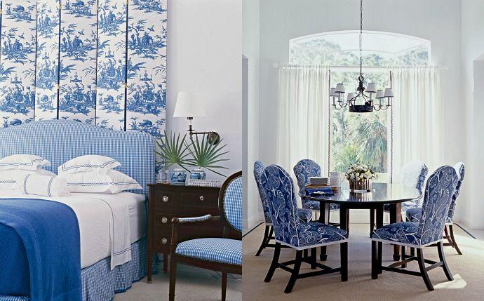 Спальня и столовая в доме в Палм-Бич, проект дизайнера Келлера Донована