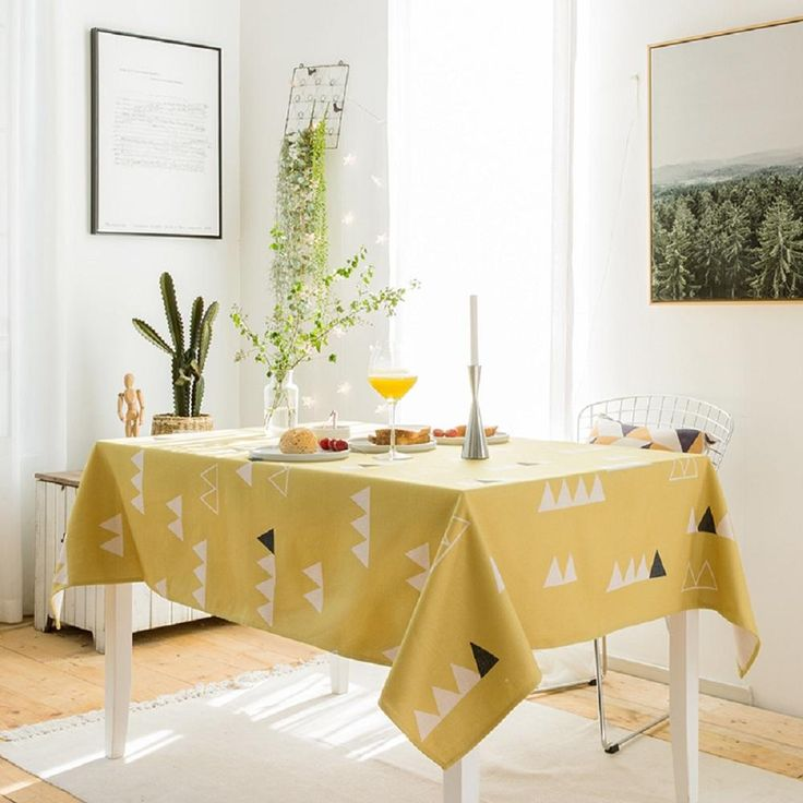 Yellow Base Triangle Village Indoor / Outdoor Tablecloth