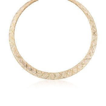 Italian 14kt Yellow Gold Mesh Calza Omega Necklace