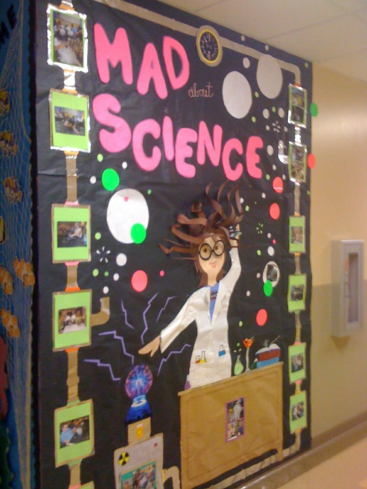 Classroom Launch Ideas ~ Mad scientist lab wall decoration library bulletin