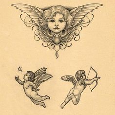 Some design stuff nr.3 #tattoo #tattoos #angel #cherub #twirls