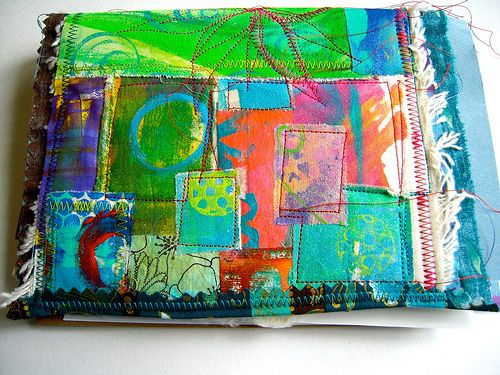 Patchwork quilt art journal cover, Traci Bautista