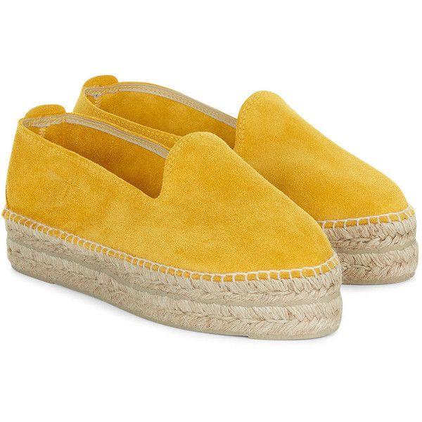 Manebi Saffron Yellow Suede Platform Espadrilles ($45) ❤ liked on Polyvore featuring shoes, sandals, yellow sandals, yellow espadrilles, rubber sole shoes, striped espadrilles and round cap
