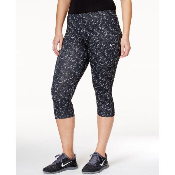 Nike Plus Size Printed Capri Leggings ($65) ❤ liked on Polyvore featuring plus size women's fashion, plus size clothing, plus size pants, plus size leggings, nike pants, print capri leggings, print leggings and white pants