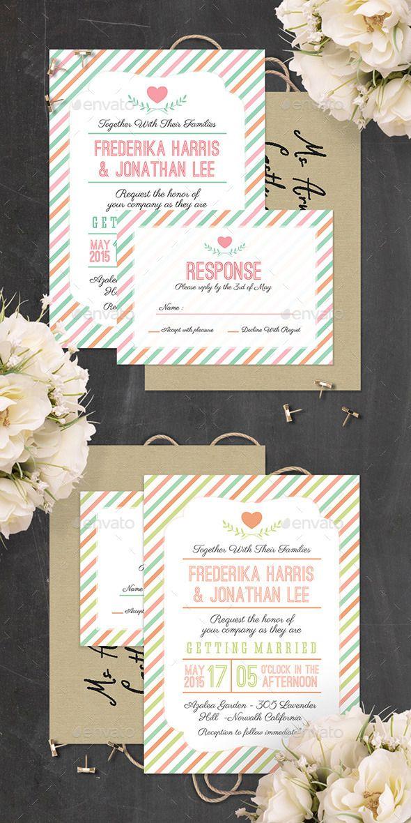 wedding invitation design psd%0A Stripes Wedding Invitation  PSD Template