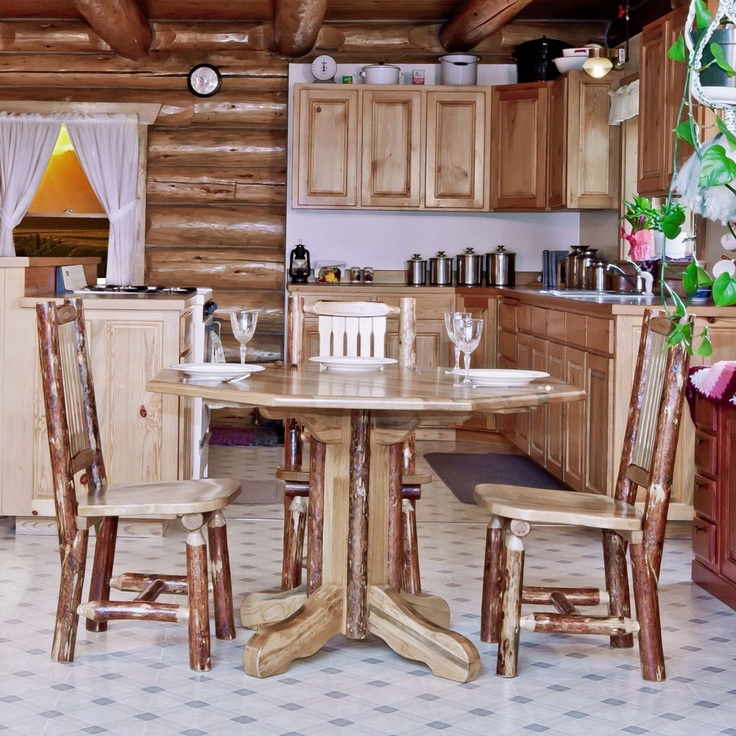 log rustic furniture amish. Amish #Glacier #Country Log Pedestal Table - #LogFurniture. FurnitureAmish CountryRustic Rustic Furniture