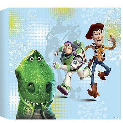 Disney Blue Toy Story Printed Canvas (30x30cm)   Debenhams