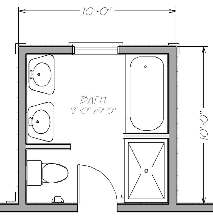 Small Bathroom Floor Plans with both tub and shower