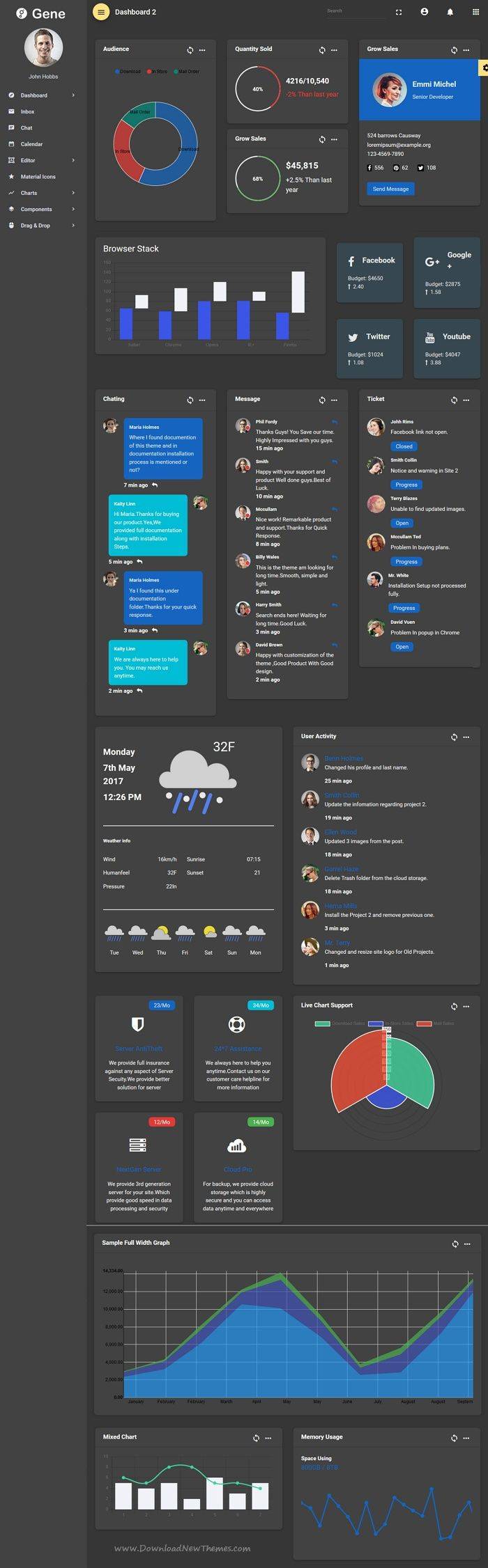 Gene is powerful #AngularJS Material #design template for admin #dashboard, CMS, #CRM and web applications backend projects download now➩ https://themeforest.net/item/gene-angular-2-material-design-admin-template/19877169?ref=Datasata