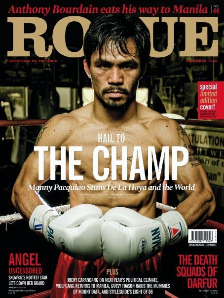 Manny Pacquiao  -  is a Filipino professional boxer and politician. He is the first eight-division world champion,[5] in which he has won ten world titles, as well as the first to win the Lineal Championship in four different weight classes.He was long rated as the best pound for pound boxer in the world..Our CHAMP!