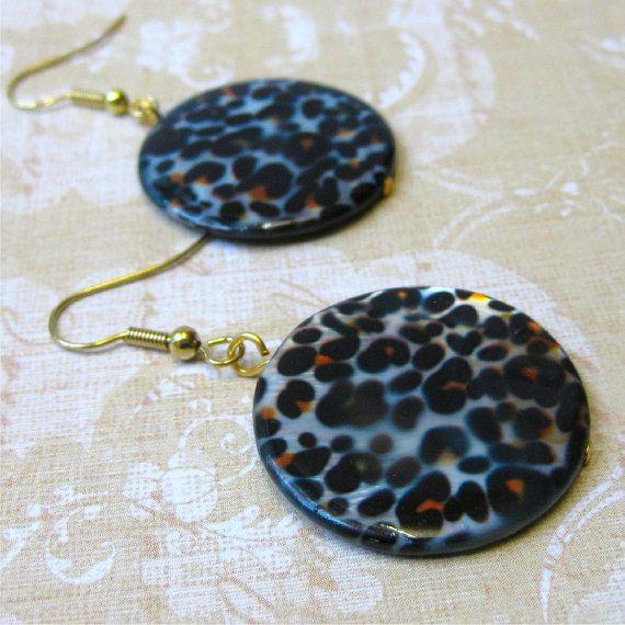 Leopard spot round shell earrings  tribal by planettreasures