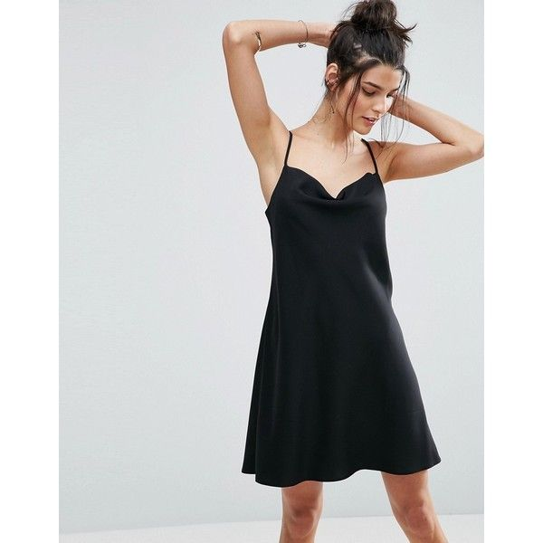 ASOS Cowl Neck Slip Dress (57 BAM) ❤ liked on Polyvore featuring dresses, black, cami dress, strappy cami, tall dresses, asos cami and cami slip dress