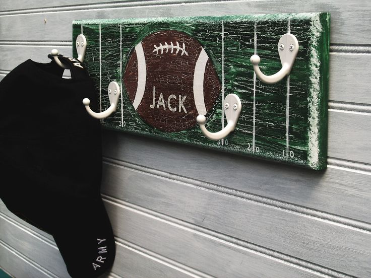 Football Player Rack Hanger Boys Sports Room Decor Wall 4 Hook  Personalized Name Team School Color Sports Room Decor Handpainted MTO OOAK. $32.00, via Etsy.