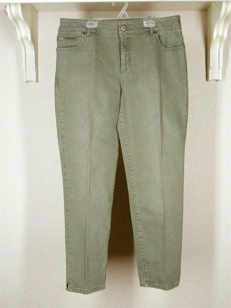 Chico's Platinum Denim Slim-Leg Ankle Jeans Sz 2 12 Moss Cotton Spandex #Chicos #SlimSkinnyStraightLeg