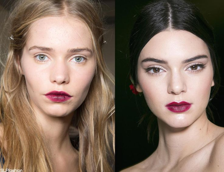 Makeup style for SS 2015: Statement two-tone vampy red ombre lips. NO.21 and Dolce and GabbanaSpring Summer 2015.