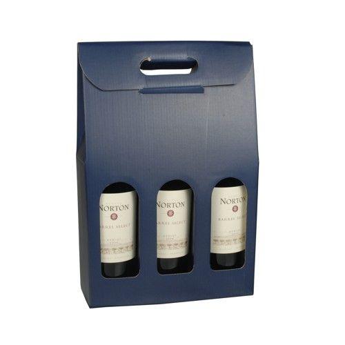 Cajas para botellas de vino con ventana 37,5 cm x 25 cm x 9 cm azul para 3 botel - Imagen 1