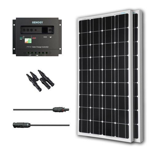 Renogy Solar Panel Bundle 200Watt: 2 100w Solar Panels UL Listed monocrystalline+MC4 adaptor Cable+PWM 30Amp Charge Controller Renogy .
