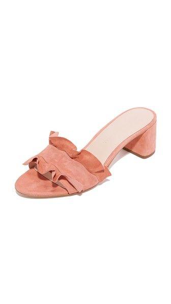 Loeffler Randall Vera City Slides in melon (pink ruffle block heel) $325 | Shopbop