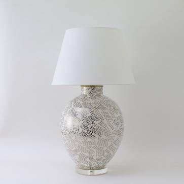 Paul Schneider Valentine Dappled Platinum and White Lamp - Mecox Gardens Southampton