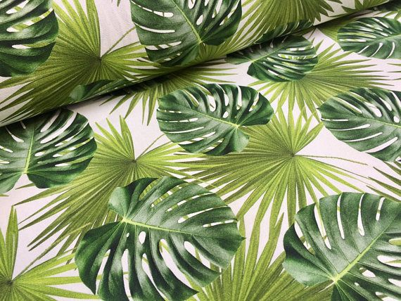 PALM LEAVES Cotton Fabric for Curtain Upholstery green tropical leaf 140cm wide