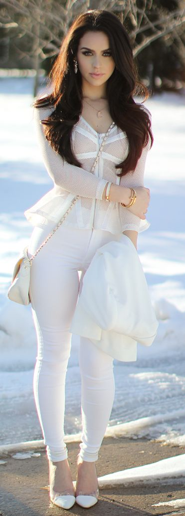 All White Outfit, blouse trousers shoulder bag. women fashion outfit clothing style apparel @roressclothes closet ideas