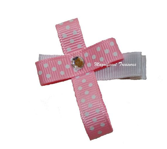 Pink Cross Ribbon Sculpture Hair Clip Or Pin Ribbon