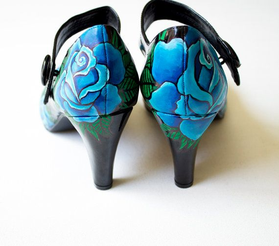 Hand painted heels Blue Roses Customize Your Shoes by kezbirdie