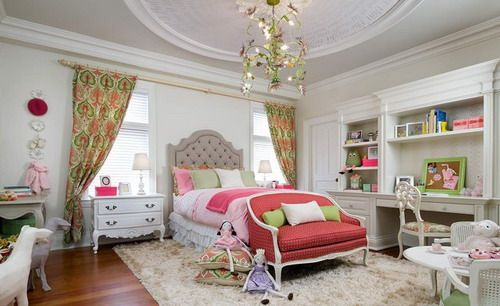 Double Bed with Skirt Bed and Bedside Table with Drawers and Nightstand and Armchair with Cushions and Open Shelves Study Desk and Pandant Lighting in Eclectic Kids Bedroom Design Ideas