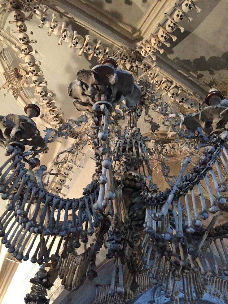 Sedlec Ossuary, bone church in Kuntá Hora, decorated by more than 40,000 human skeletons.