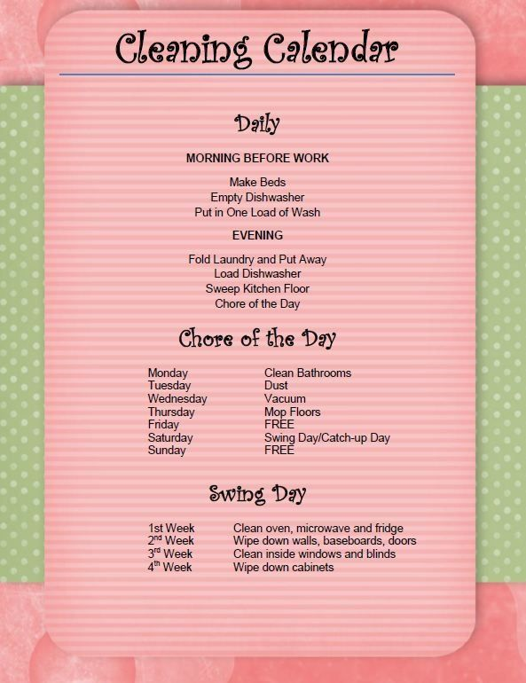 This is very doable! Daily Cleaning Schedule