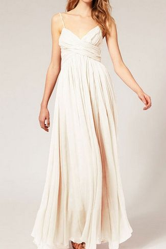 A subtle, yet sultry empire maxi beach wedding dress.