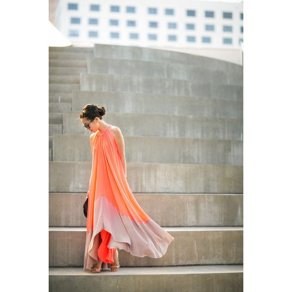 Summer Dance Coral trapeze dress Little pearls ❤ liked on Polyvore featuring dresses, photos, trapeze dress, white pearl dress, coral summer dress, summer day dresses and tent dress