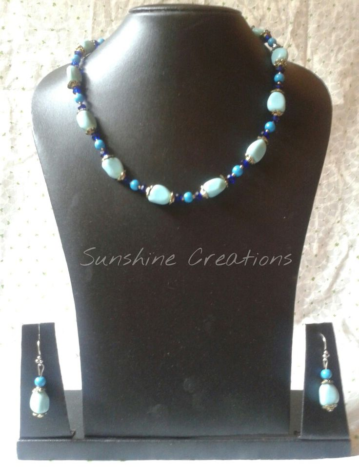 Uneven light blue glass beads necklace with earrings  SOLD OUT