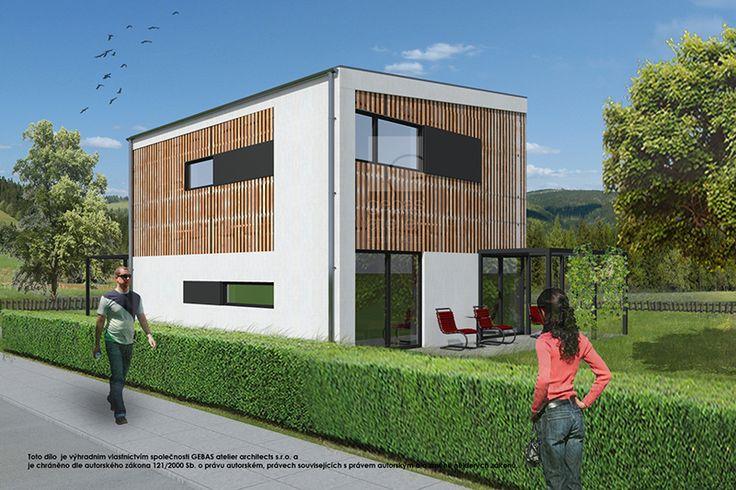 Vnější fasáda objektu je řešena jako klasická fasádní omítka v kombinaci s dřevěným obkladem.