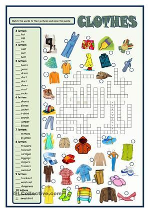 Clothes crossword - ESL worksheets