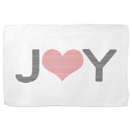 Joy - heart - black and pink. hand towel