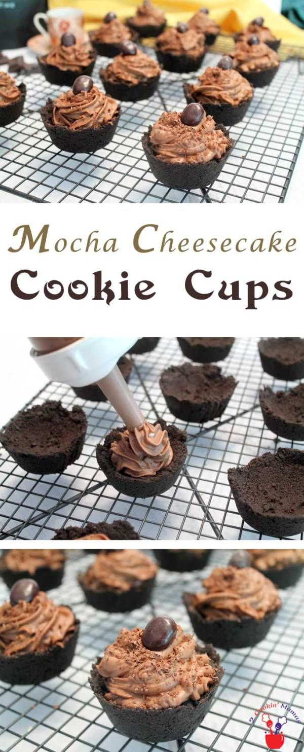 Mocha Cheesecake Cookie Cups | 2 Cookin Mamas Deliciously decadent mocha cheesecake is a rich cream cheese mixture flavored with coffee and chocolate. It's the perfect filling to pile inside these dark chocolate cookie cups or just to eat by itself. Sure to be a hit for your next party! #recipe #dessert