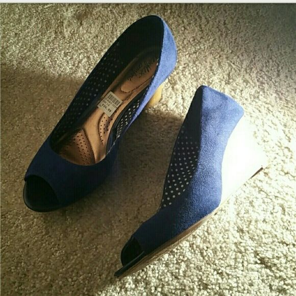 Comfy royal blue wedges Comfy royal blue wedges with padded insoles. Only worn twice! Shoes