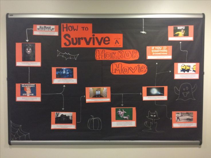 Horror movie theme for October bulletin board at Texas Christian University!