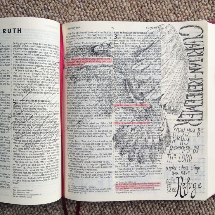 Guardian Redeemer. Ruth 2. Draw Close Blog. Bible art, Bible journaling. Bible study, devotion. Under his wings. Refuge.