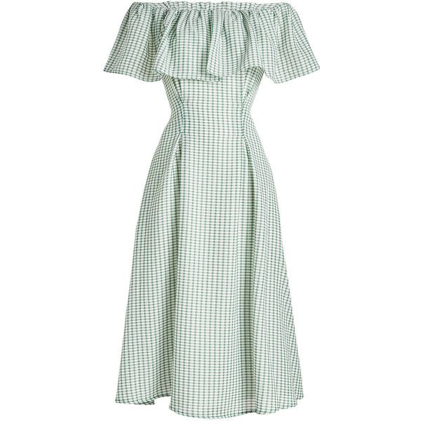 Rejina Pyo Olivia Printed Dress ($675) ❤ liked on Polyvore featuring dresses, green, off-the-shoulder dress, green ruffle dress, off the shoulder ruffle dress, flutter-sleeve dresses and white off the shoulder dress