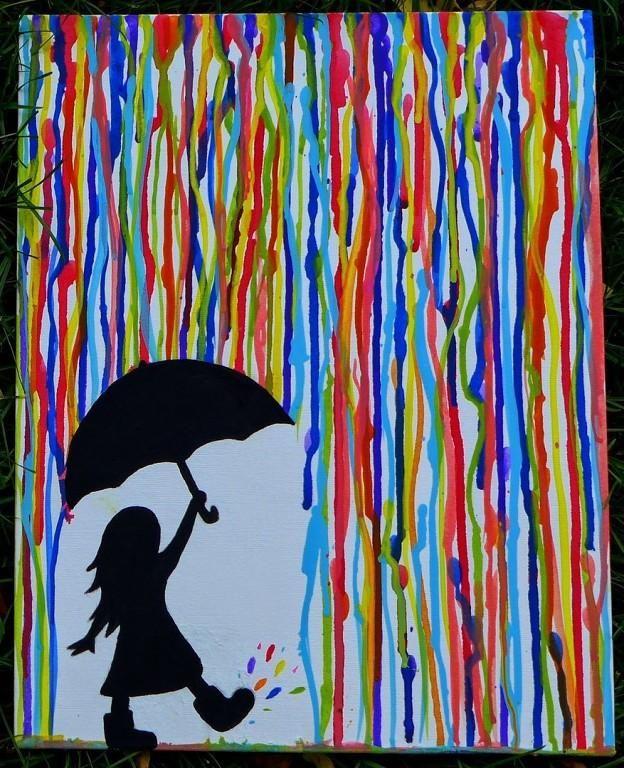 Осенний дождь.   Заранее подготовим лист бумаги - простым карандашом нарисуем девочку с зонтиком.   Вместе с ребенком аккуратно заклеим наш рисунок малярным скотчем. Повесим его вертикально (для этой цели прекрасно подойдет ванная ).   Теперь разведем краски разных цветов водой и пусть ребенок наносит их кисточкой на верхний край листа. Краска должна стекать цветными дорожками по бумаге. Когда краска высохнет, снимем скотч и дорисуем девочку с зонтом: раскрасим ее черной краской. Или…