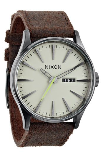 thanks for sharing @Heather Wright  - i love it! Nixon 'The Sentry' Leather Strap Watch available at #Nordstrom