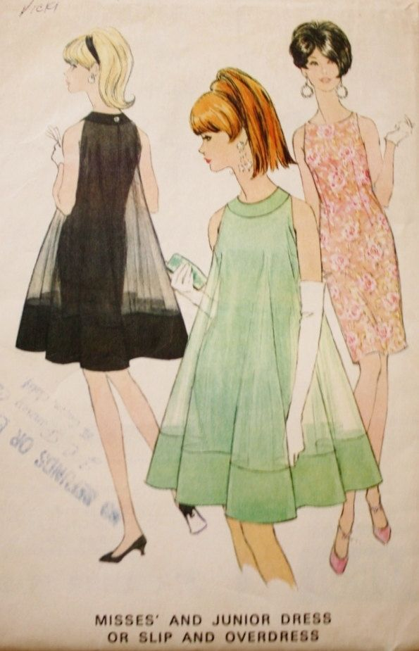 1960s Dress Sewing Pattern Dress and Overdress McCalls 8517 Vintage Pattern…