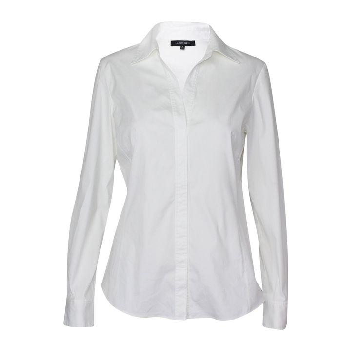 Stretch Cotton V-Neck Blouse