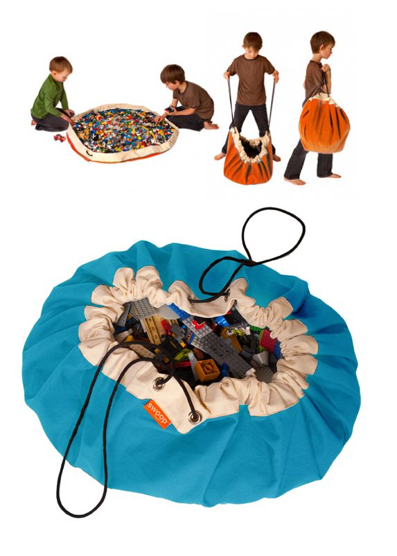 "Swoop Bags are the ultimate, modern toy storage bag + play mat in one. Our bags make cleaning up and organizing easy, fast and fun! Ideal for LEGO, Playmobil, Polly Pockets, trains, cars, blocks, stuffed animals and anything else you can ""Swoop"" up. Made in USA (Seattle) from 100% cotton canvas and durable nylon cording. Designed to last. Kid tested, parent approved! Just ""Swoop it up!"" www.swoopbags.com"