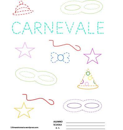 Pregrafismo di Carnevale:libricino con disegni da colorare